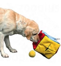 Jouet dé en peluche avec 4 balles de jeu pour chien