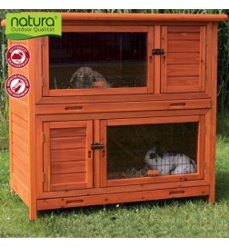 Clapier Natura 2 en 1 avec isolation thermique pour lapin