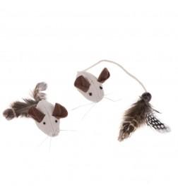Souris avec plumes naturelles pour chat
