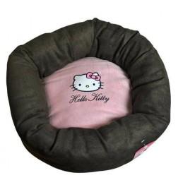 Panier rond en microfibre rose et marron Hello Kitty pour chat