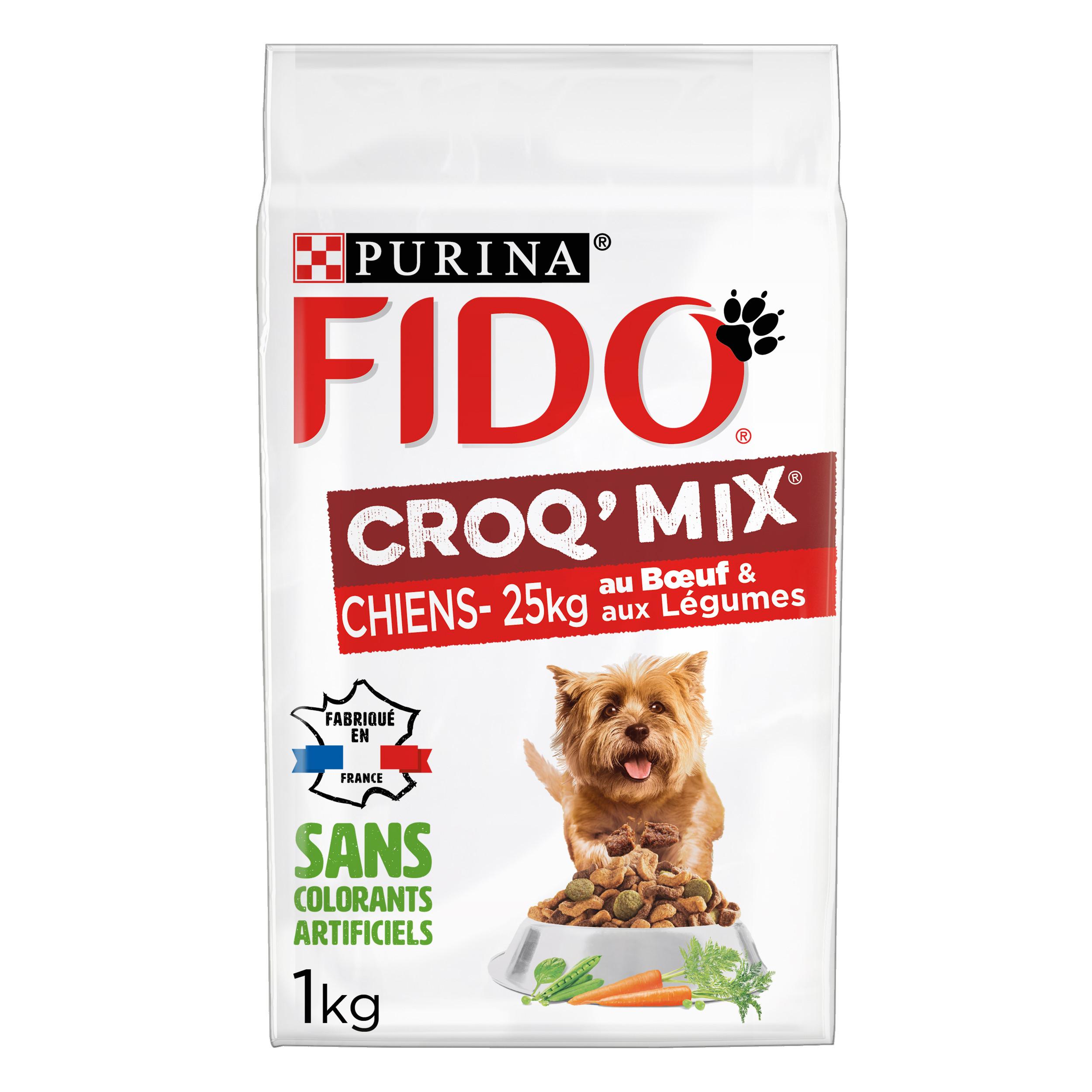 FIDO® CROQ' MIX® Pour Chiens de moins de 25Kg Au Bœuf & aux Légumes