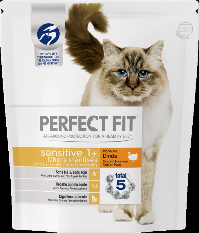 Croquettes Perfect Fit™ Sensitive 1 an et + riche en dinde pour chats sensibles stérilisés