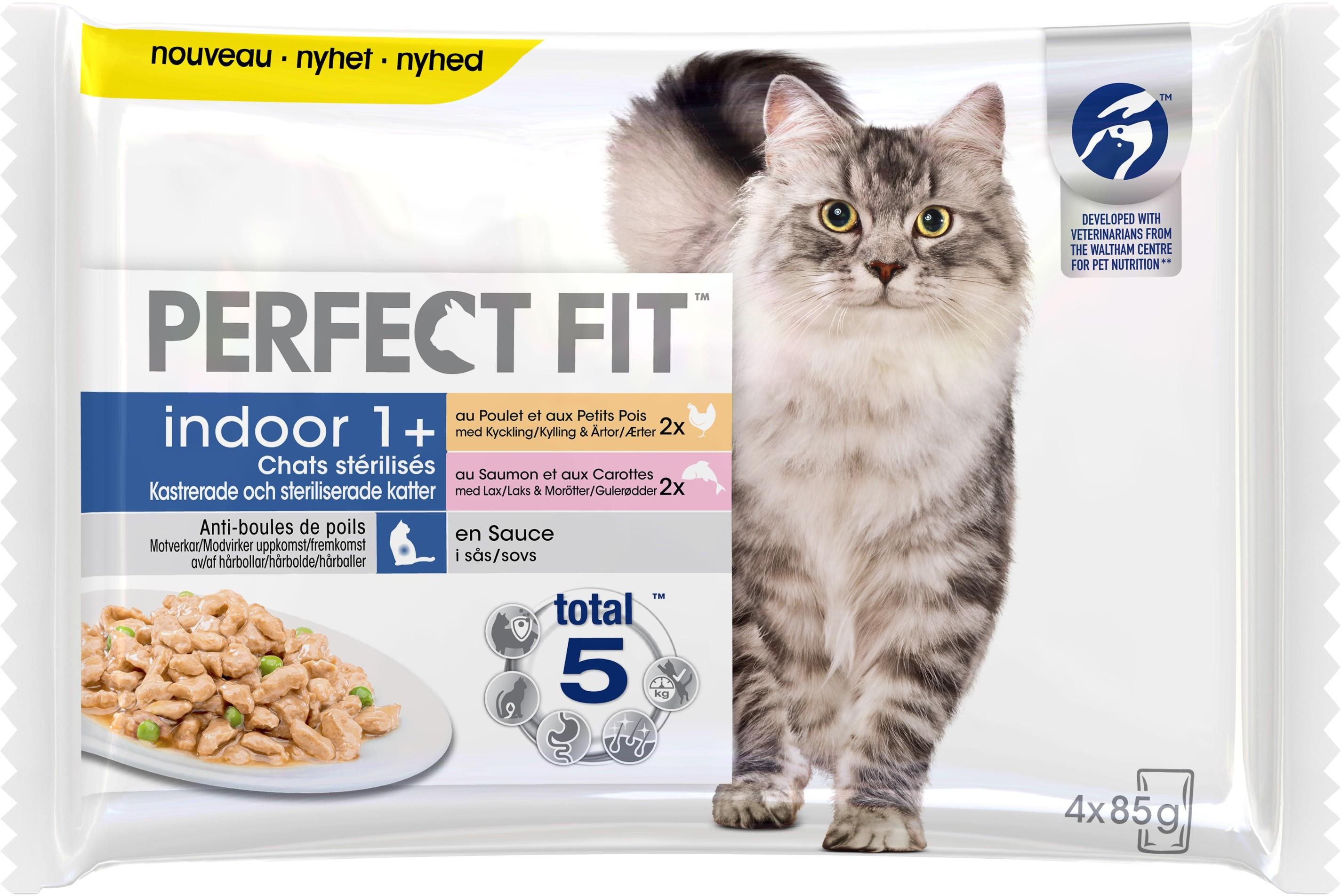 Sachet fraîcheur Perfect Fit™ Indoor 1 an et + Poulet et Saumon pour chats d'intérieur stérilisés