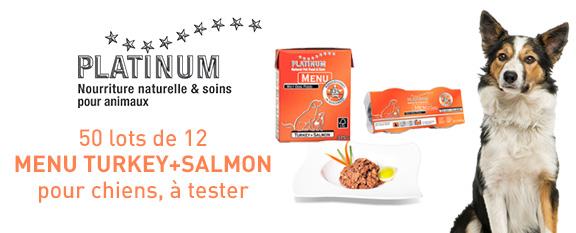 testez gratuitement menu turkey salmon de platinum pour votre chien. Black Bedroom Furniture Sets. Home Design Ideas